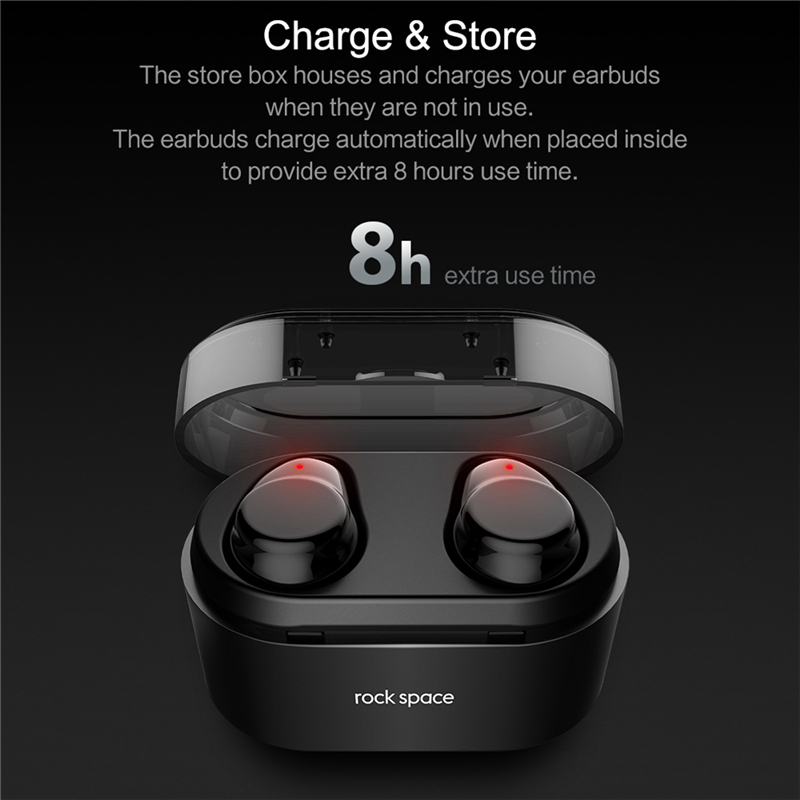 ROCK Mini TWS Vrai bluetooth sans fil Écouteurs Stéréo casque de sport Avec Boîte De Charge Micro Intra-auriculaires Pour iPhone XS MAX Xiaomi - 5