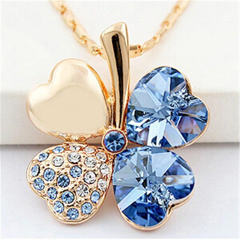 SHDEDE Vier Kleeblatt Halsketten Anhänger Herz Kristall von Swarovski Elements Gold Farbe Vintage Mode Schmuck Für Frauen 900