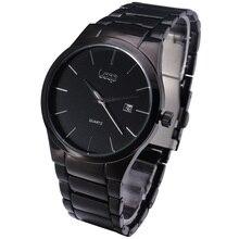 2015 Nueva Marca de Moda LAZO Del Negocio Del Diseñador Automático Calendario Hombres Reloj Ocasional de Acero Inoxidable de Lujo Negro Hombres de Cuarzo Reloj de Pulsera