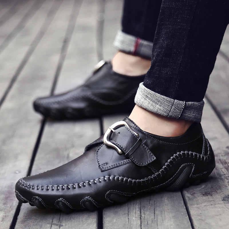 Повседневное кожаная обувь Мокасины Для мужчин мягкая удобная обувь для вождения Для мужчин Мокасины, обувь мокасин kasual для Для мужчин из натуральных материалов, Schoenen