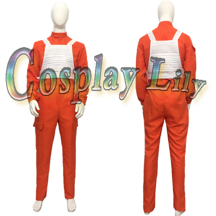 Star Wars X Wing Pilot Uniform Costume Orange Jumpsuit white vest cosplay costume custom made
