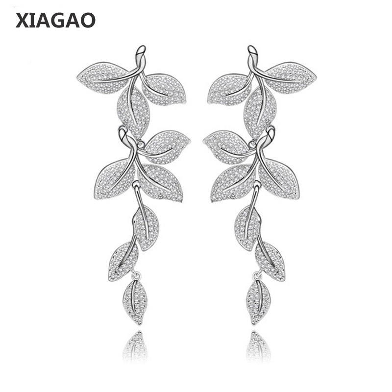 XIAGAO Leaf Statement Women Dangle Earrings Exquisite Clear Cubic Zircon Luxury Jewelry For Engagement Wedding
