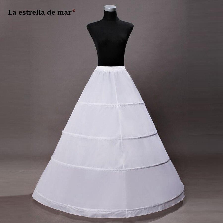 Jupon Mariage New White 4 Hoops Petticoat Underskirt Long Saiote Para Vestido De Noiva Wholesale Anagua