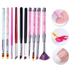 Gradient Drawing Nail Brush UV Gel Painting Pen French Tip Brush Rhinestone Handle Manicure Brush Cuticle Remover Pen Nail Art
