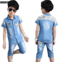 Fashion Boys Summer Clothing Set 2pcs Cowboy Denim T Shirt Shorts Big Boys Turn Down Collar