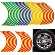 16 Strips Bike Car font b Motorcycle b font Wheel Tire Reflective Rim font b Stickers