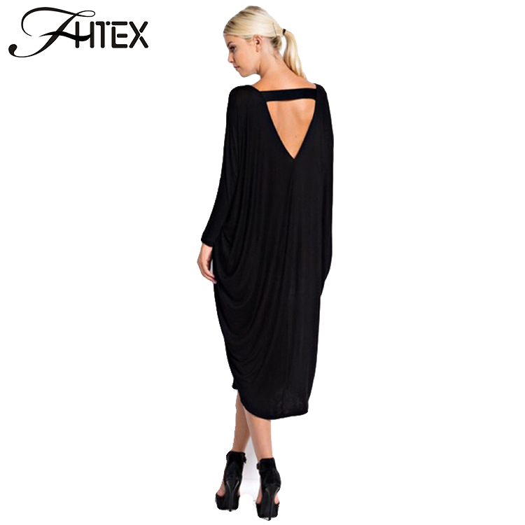 Plus Size Autumn Dress Fashion New Women Solid Color V Neck Batwing