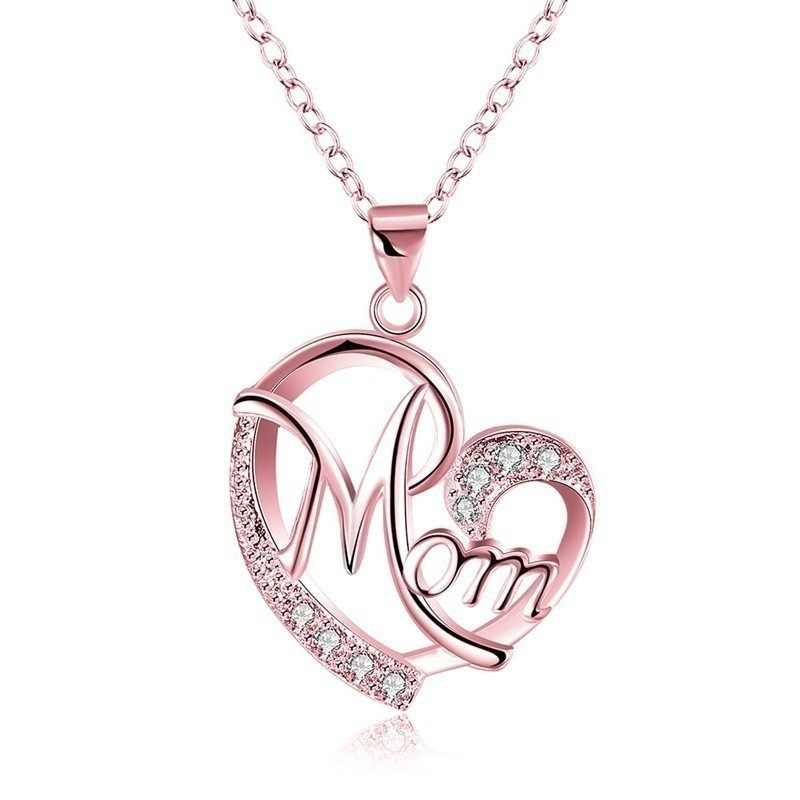 Fashion Mom Crystal Heart Pendant Necklace Love Rose Gold Silver Color Chain Necklaces For Women Mothers Day Birthday Gift