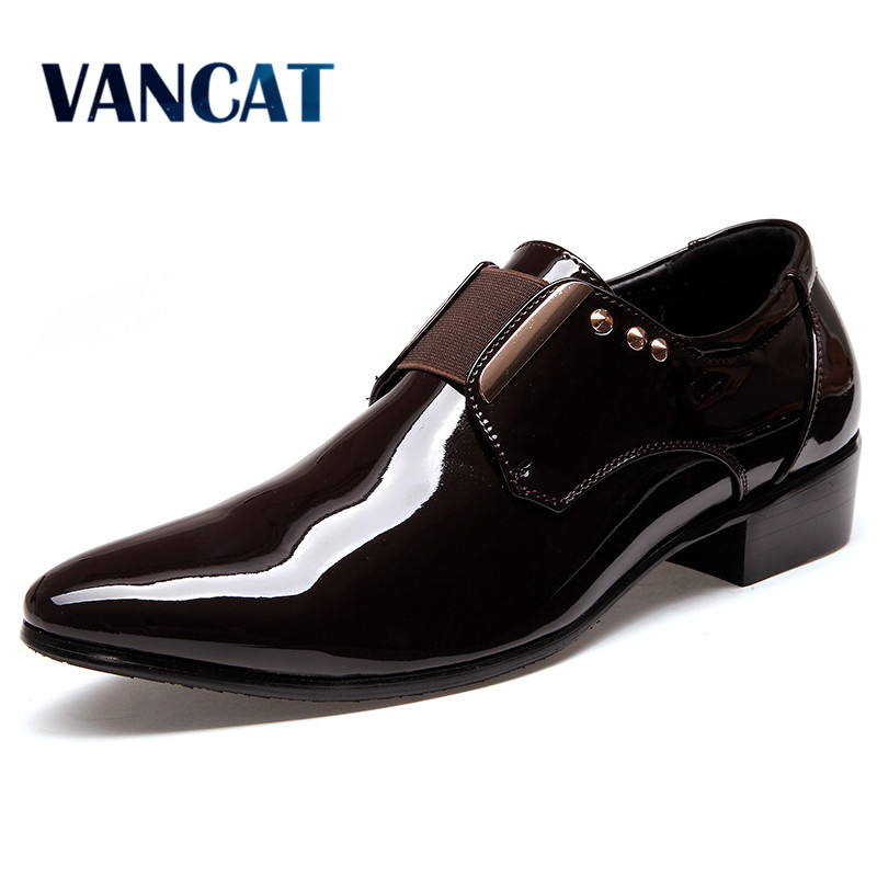 VANCAT Men Dress Italian Leather Shoes Slip On Fashion Men Leather Moccasin Glitter Formal Male Shoes Pointed Toe Shoes For Men