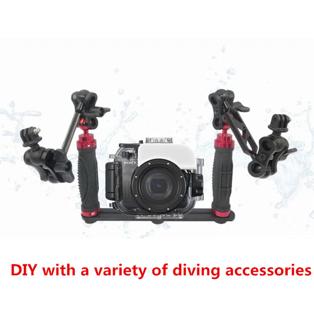 Handheld Handle Hand Grip Stabilizer Rig Underwater Scuba Diving Dive Tray Mount / LED Light for Go pro Camera SJCAM Smartphone
