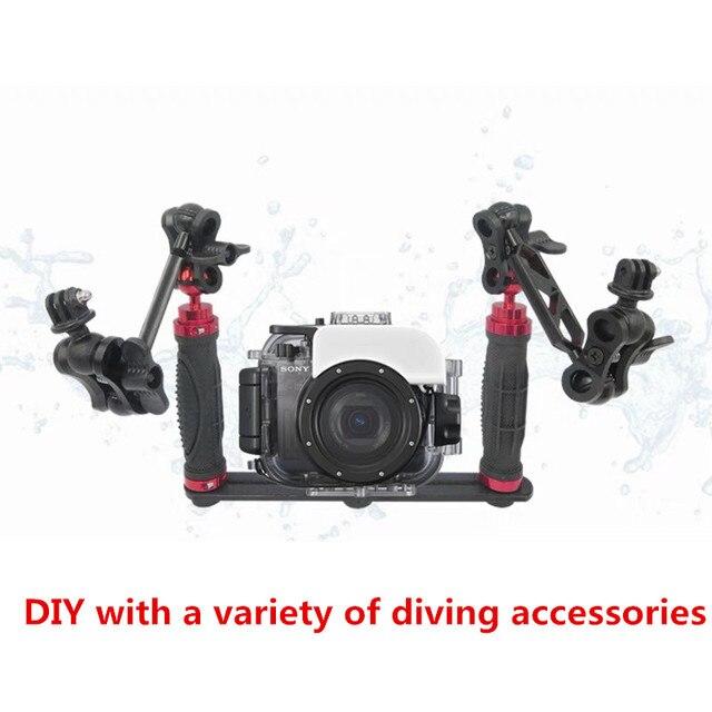 כף יד ידית יד גריפ מייצב Rig מתחת למים צלילה צלילה מגש הר/LED אור המצלמה pro עבור SJCAM smartphone