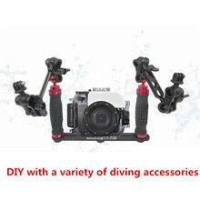 Soporte estabilizador de mano para cámara Go pro, soporte de bandeja de buceo subacuático, luz LED para Smartphone SJCAM