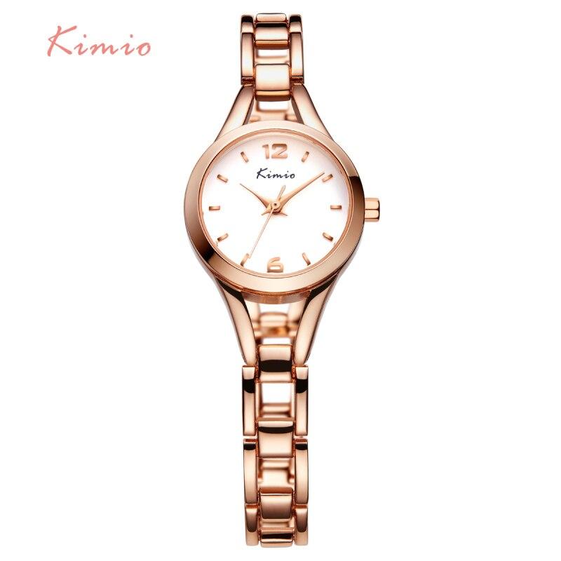 KIMIO Ladies Simple Small Round Dial Rose Gold Skeleton Bracs