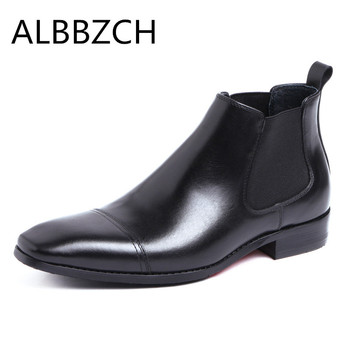 Business dress genuine cow leather men boots pointed toe slip on mens ankle boots autumn winter shoes office work boots size 44
