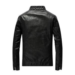 Image 3 - Chaqueta de cuero de poliuretano para hombre, chaqueta ajustada informal para motocicleta, con cuello levantado, envío directo ABZ174