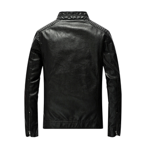 Image 3 - New Spring Mens Leather Jackets Stand Collar Motorcycle Pu Casual Slim Fit Coat Outwear Drop Shipping ABZ174