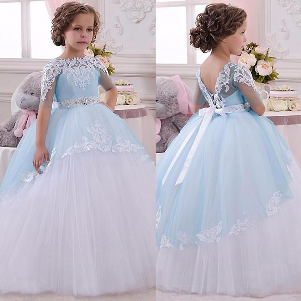 Pageant Dresses For Little Girls Lace Appliques Half Sleeves Beading Belt Open V Back Long Ruffle Tulle Ball Gowns 0-14Y