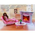 Miniature Furniture Fireplace & Leisure Chair for Barbie Doll House Classic Toys for Girl Free Shipping