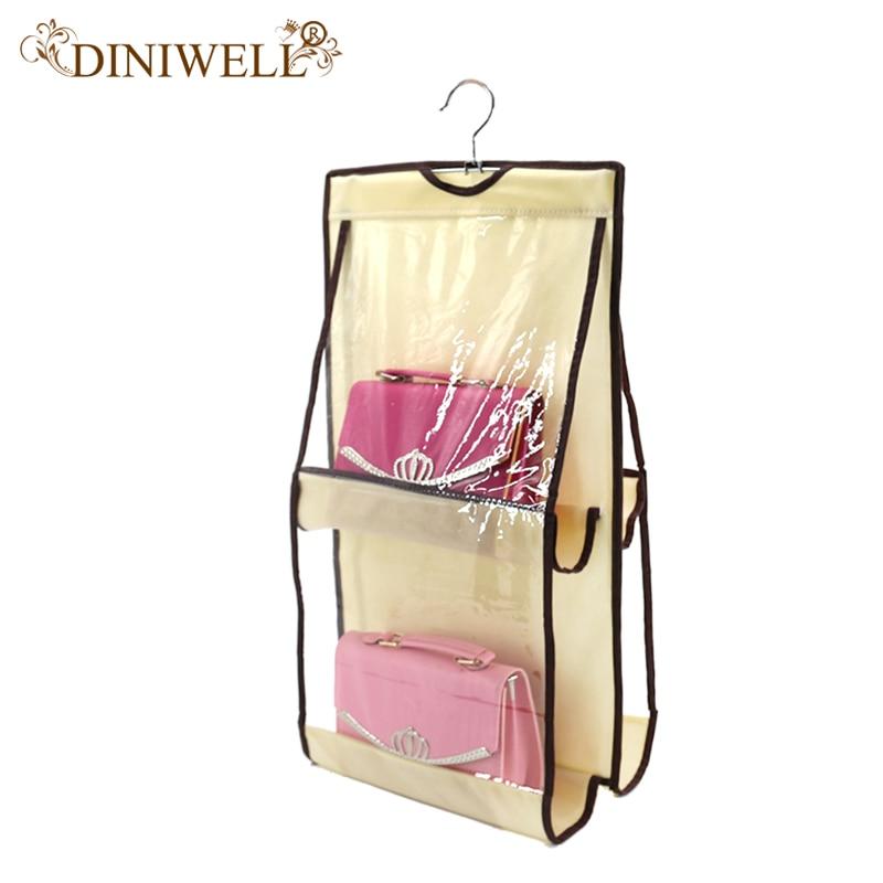 DINIWELL 4 Pocket Organization Rack Hängare Klädhängare Tidy Dammtät Hängande Kvinnor Handväska Tygväska Handväskor Förvaringsanordningar