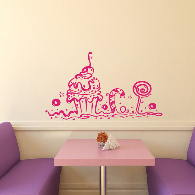 Cupcake Design Kitchen Accessories: Wall Decals Bakery Shop Cafe Kitchen Decor Sweet Cake