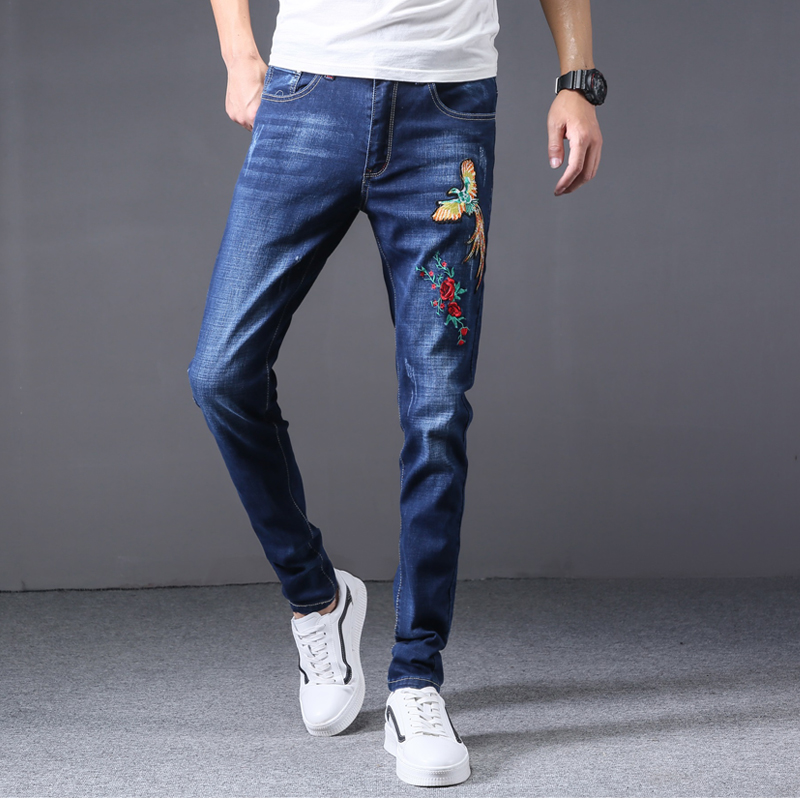 Mens Jeans Drawstring Tight Cuffs Vintage Comfy Denim Pant 2018 boy male Stretch Blue Business Casual Denim Pants
