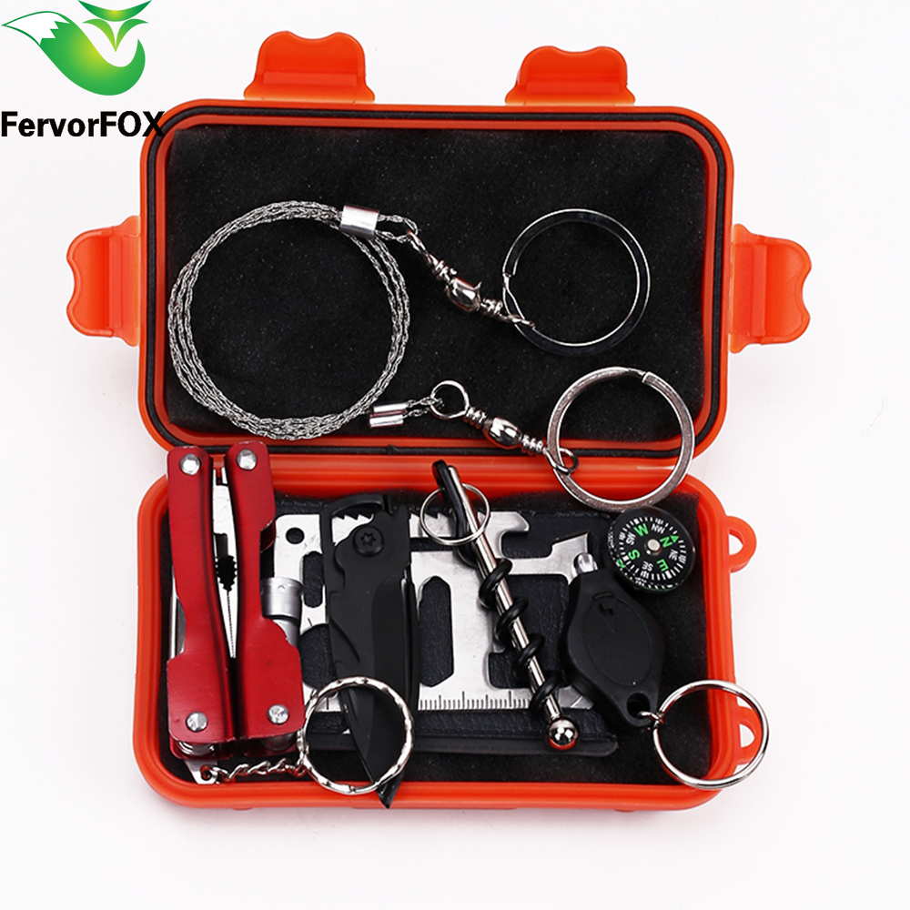 1 Set Outdoor Emergency Equipment SOS Kit First Aid Box Supplies Field Self-help Box For Camping Travel Survival Gear Tool Kits motorcycle equipment survival kit shovel tools camp kamp acampamento sobrevivencia ferramentas emergency survival gear for tent