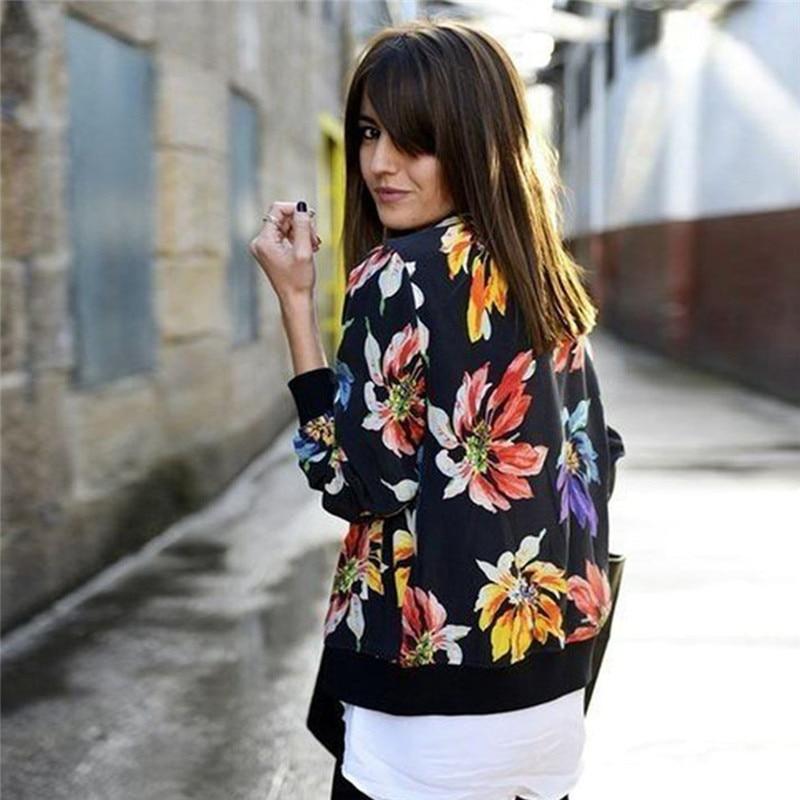 Ladies Black Floral Print Long Sleeve Bomber   Jacket   Women Spring Autumn Coat Female Vintage Zipper Ethnic   Jacket     Basic   Coat New