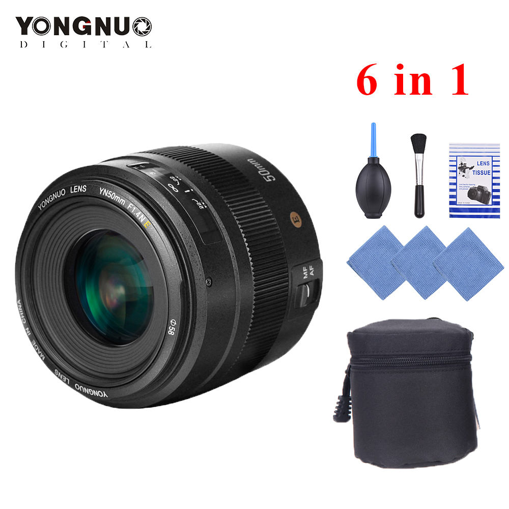 YONGNUO YN50mm F1.4N E Lens Standard Prime Lens F1.4 Large Aperture Live View Focusing Auto Manual Focus Lens for Nikon D5 D4 D3-in Camera Lens from Consumer Electronics    1