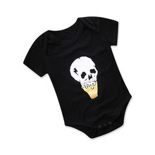 Baby Boy Clothes 2018 Summer Black Short Sleeve Cartoon Cotton Romper Toddler Boys Clothing Outfit Newborn Photography Props(China)