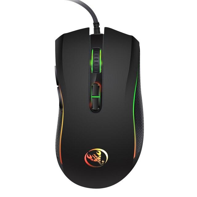 HXSJ 新色発光ゲーミングマウス 7 ボタン 3200 dpi オフィスノート pc usb マウス abs 材料
