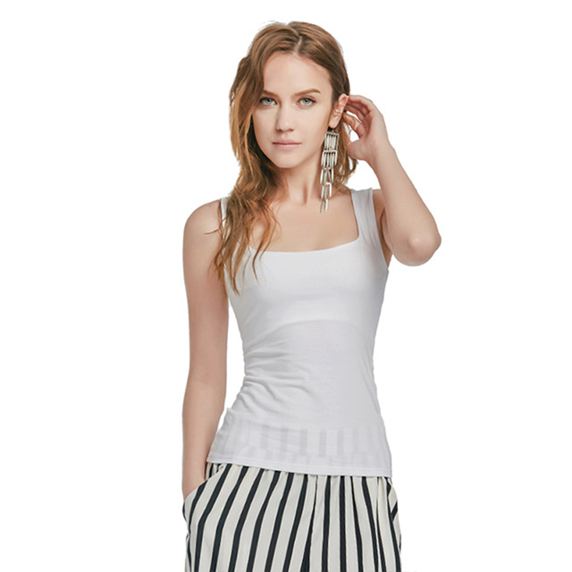 Women's Sexy Low-cut Basic T-shirt 2018 Summer Solid Cotton Tank Top Fashion Sleeveless Camisole Top Comfortable Vest
