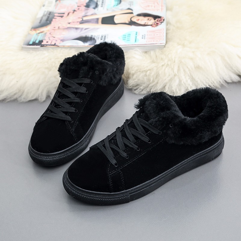 Women Flats For Winter Plush Warm Shoes Casual Flat Heels Lace Up Ladies Shoes Size 35-40 Black Gay Pink Fashion Fur Shoes NX5 (16)