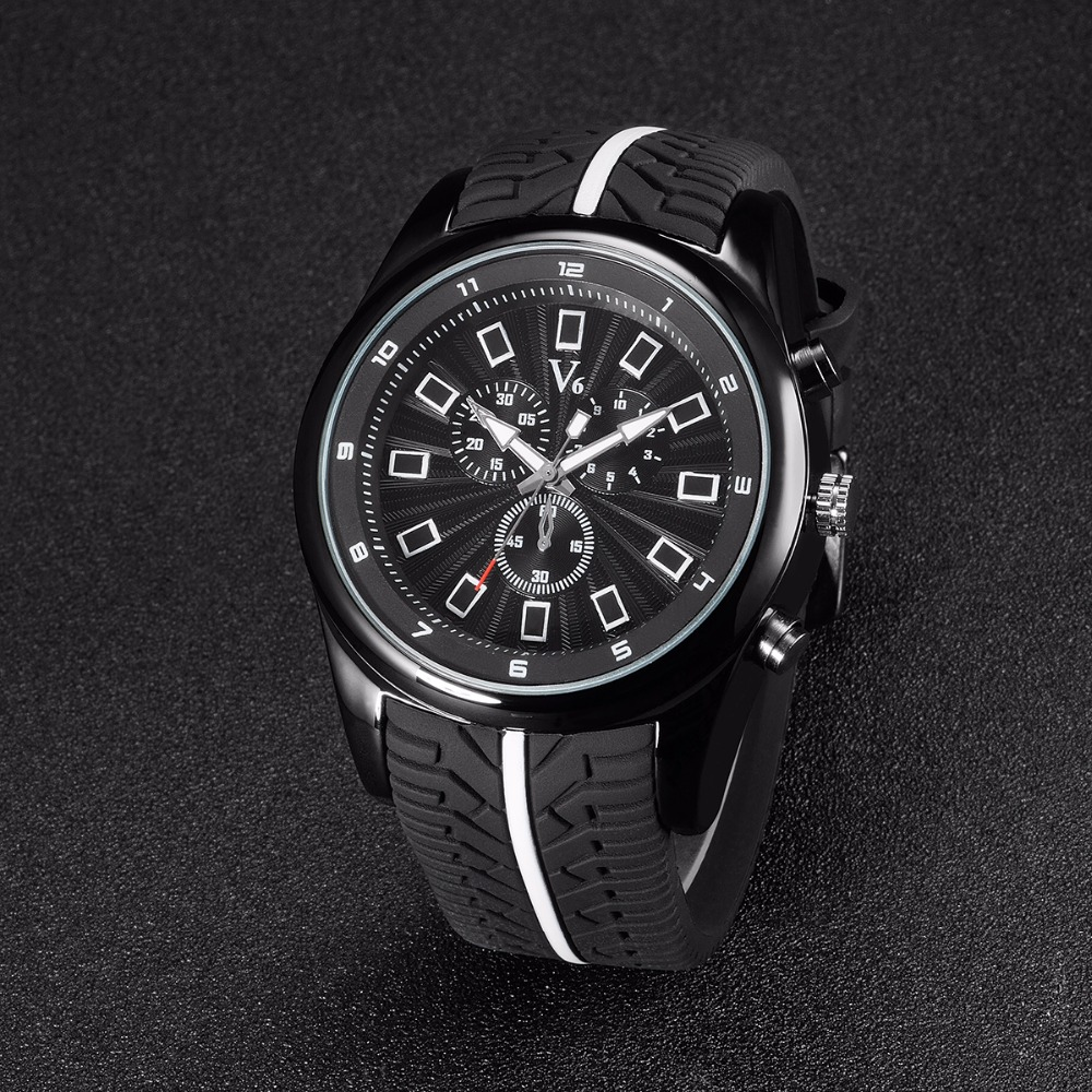 V6 Luxury Brand montre femme Silicone Casual Watch Men waterproof reloj hombre Sports Watches Quartz Military Wrist Watch Male luxury brand business men watches reloj hombre classic dress men quartz watch montre mens waterproof male clock erkek kol saati