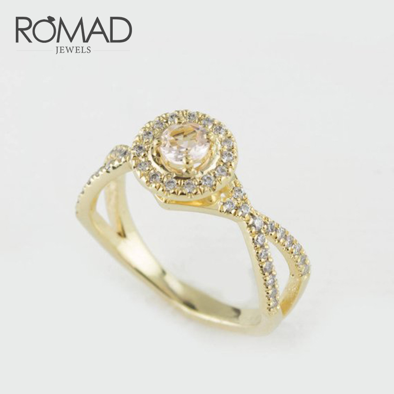 Romad Gold Color Fashion Flower Wedding Rings For Women Ring Gifts Cut Aaa Zircon Engagement Bijoux Bague Jewelry R4