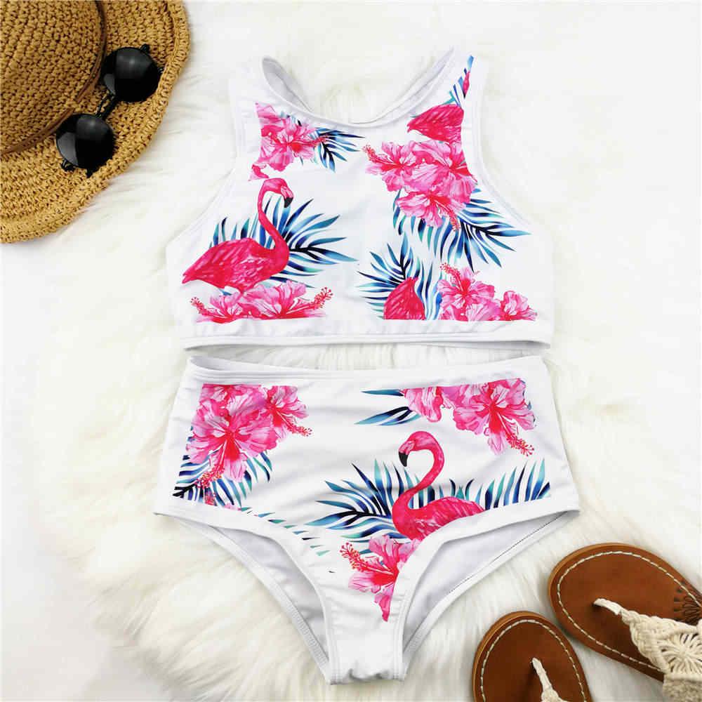 7b325ee33b High Waist Bikini Women Flamingo Print Swimwear High Neck Swimsuit Vest  Biquini Sport Bikinis Pineapple Bathing