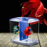 Acrylic Aquarium Trang Trí Cách Ly Hộp Cá Cá Chăn Nuôi hộp Đôi Nhỏ Trang Trí Bể Cá Home Office Desktop Trang Trí