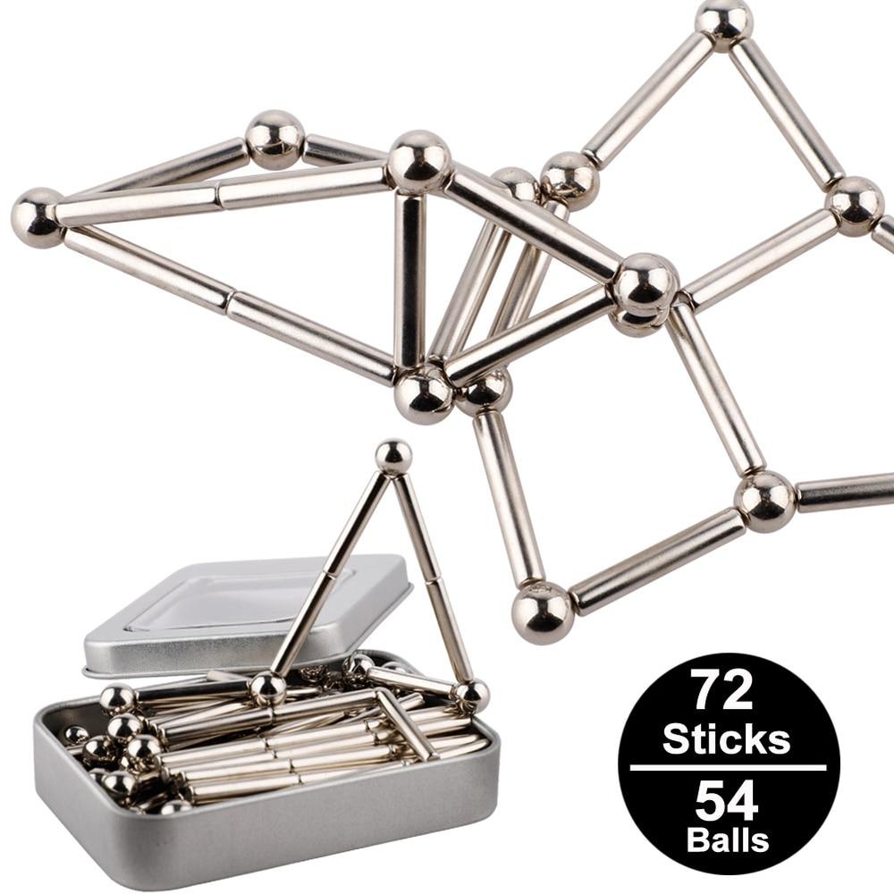 De metal Ímãs Cubo Mágico Blocos de Construção Crianças Brinquedos Educativos Puzzle Inovador Bucky Magnética Varas Conjunto J75 Bolas de Aço