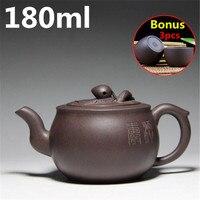 Yixing Teapot 180ml Bouns 3 Tea Cups Ceramic Chinese Handmade Tea Pot Kung Fu Set Zisha Porcelain Kettle Purple Clay Tea Pot