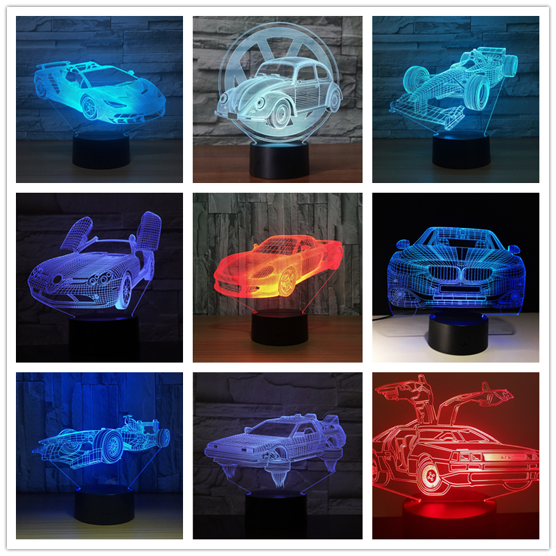 3D Led Lamp Racing Car Formula Ferrari BMW 7 Colors Change Baby Sleep 3d Led Light Home Decor Holiday Kids New Christmas Gift