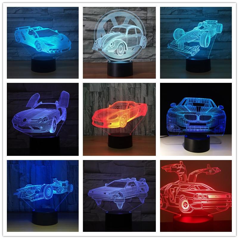 Aris Racing Car Formula 3D Night Light Table Lamp 7 Colors Changing Desk Lamp 3d Lamp Novelty Led Night Lights Led Light