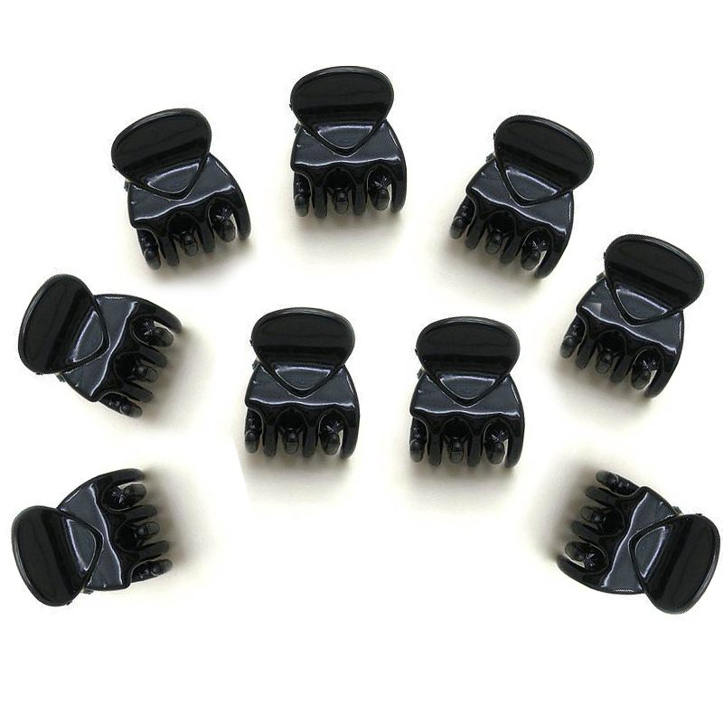Fashion Women Girls 10pcs Black Plastic Mini Hairpin 6 Claws Hair Clip Clamp 9356 women hair clip fashion hair claw black hairpin hair accessories for women simple hair crab clamp 2 7 2cm 12pcs lot