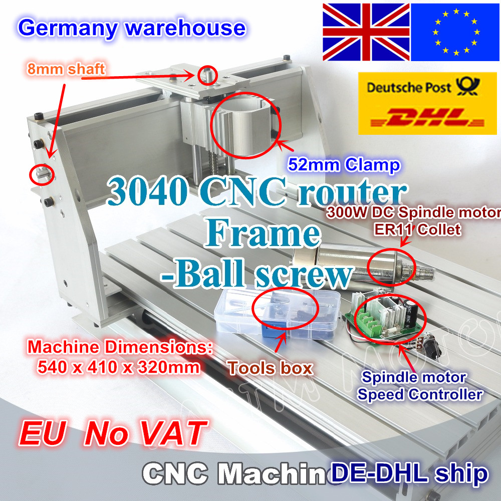 EU ship free VAT New 3040 CNC router milling machine mechanical kit ball screw with 300W