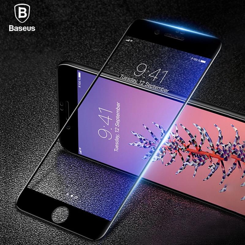 Baseus 7D de vidrio templado Protector de pantalla para iPhone 7 Plus de 0,3mm frente curvado de la cubierta completa borde protectora templado película de vidrio