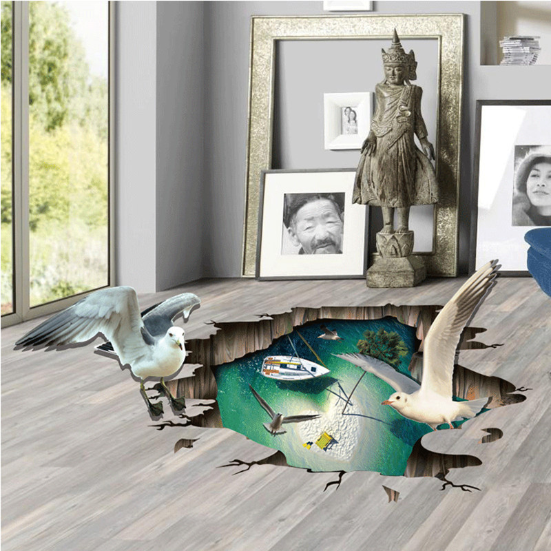 3d Sea Mew Wall Sticker Animal Birds Floor Stickers Living Room Bedroom Home Decor Wallstickers For Kids Baby Rooms Brick Poster
