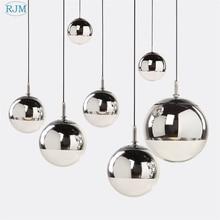 Современные подвесные светильники с серебристым зеркальным шаром, подвесной светильник, стеклянный светодиодный светильник для кухни, гостиной, спальни, дома, подвесной светильник