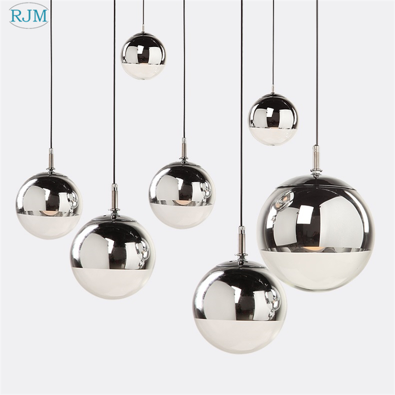 Modern <font><b>Pendant</b></font> <font><b>Lights</b></font> Silver Mirror Ball Hanglamp Globe Glass Led Lamp Kitchen Living Room Bedroom Home suspension luminaire image