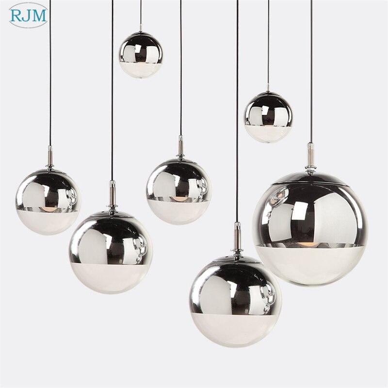 Modernas luzes pingente de prata espelho bola hanglamp globo vidro conduziu a lâmpada da cozinha sala estar quarto casa luminária suspensão