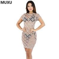MUXU summer Short Sleeve Round Neck Sexy Bodycon Women Dresses Women Mini Dress short  pencil dress  knitted vestidos mujer jurk