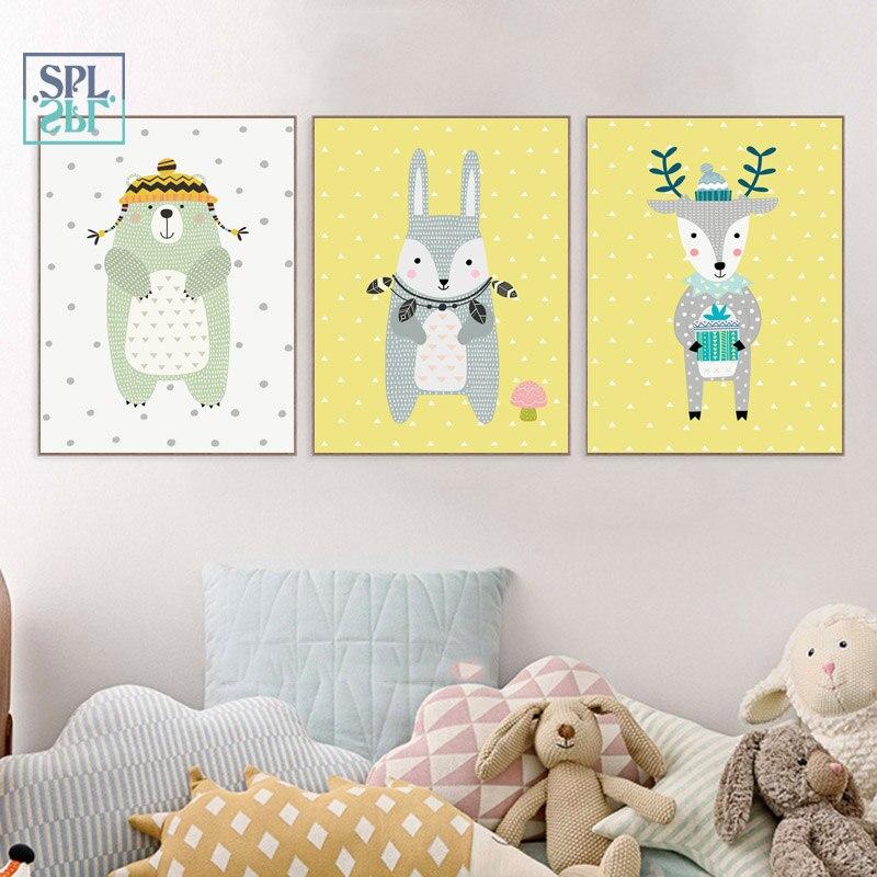 SPLSPL No Wall Picture Cartoon Rabbit Animals Canvas Art Painting For Kids Room Decoration Children Room Ornamentation