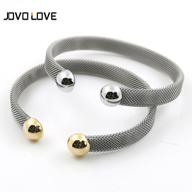 JOVO Elegant 8mm Womens Mesh Bracelets Jewelry Double Head in